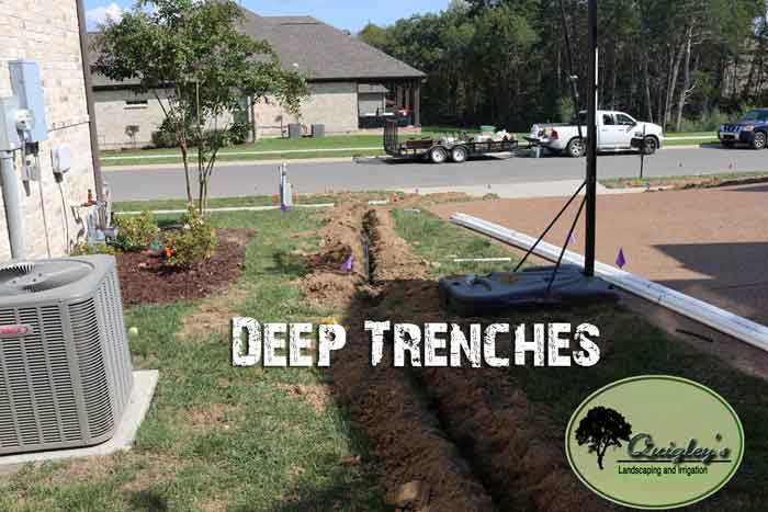 Deep-Trench-for-pipes-Nashville, Brentwood, Franklin, Spring Hill, and Nolensville TN Irrigation help.